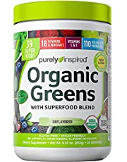 Greens Powder Smoothie Mix   Purely Inspired Organic Greens Powder Superfood   Super Greens Powder Organic   Fruit + Veggie Superfood Powder   Green Smoothie Powder, 24 Servings (Package May Vary)