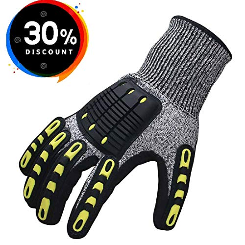 Impact Reducing Safety Gloves, Abrasion & Vibration & Cut Resistant, Ideal for Heavy Duty Safety Work like Mechanic, Garden Construction, Car Repairing Industrial, 1 Pair by KARRISM