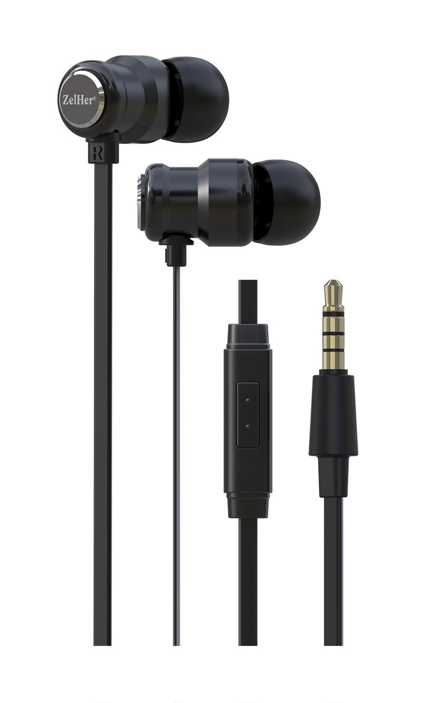 ZelHer MX-10 in-Ear Headphones with Mic Wired in-Ear Earbuds with Inline Control and 10mm Dual Chamber Drivers for Superior Sound Quality - Stylish, Tangle-Free Cables (Black) by ZelHer