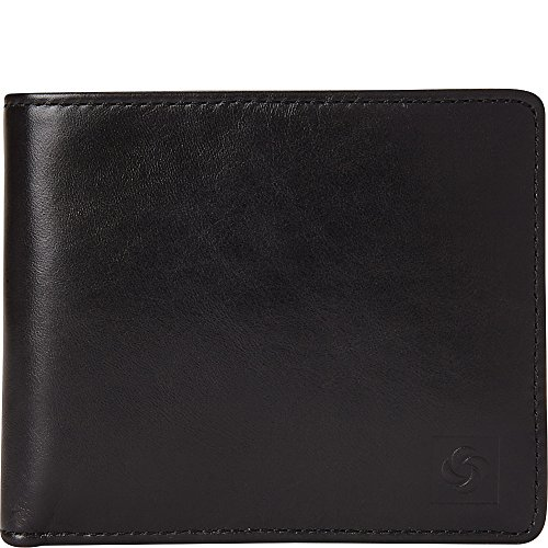 (Samsonite 1910 Two Compartment Leather Wallet with Removable ID Case (Black))