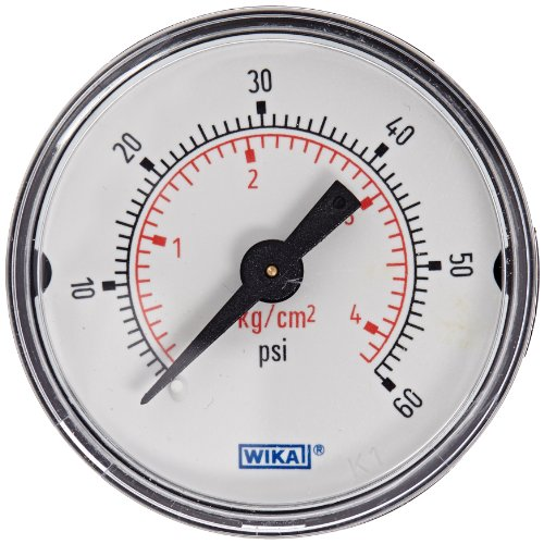 (WIKA 9692652 Commercial Pressure Gauge, Dry-Filled, Copper Alloy Wetted Parts, 1-1/2