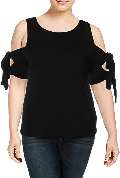 CeCe Womens Double Tie Cold Shoulder Blouse Black S