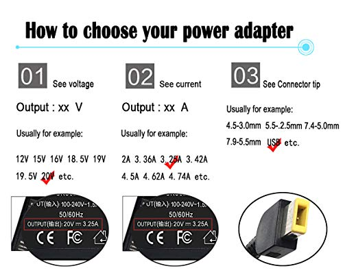 65W 20V 3.25A AC Adapter Laptop Charger for Lenovo Thinkpad T430 T440 T440S T440P T450 T460 T460S T540P T560 E440 E450 E550 E560 G50 G50-45 G50-70 G50-80 Z50 Z50-70 Z50-75 Power Supply Cord Plug