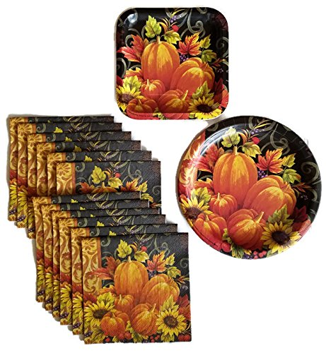 Thanksgiving Pumpkin Fall Harvest Party Supplies Paper Plate and Napkin Bundle Set of 3 Includes Dinner Plates, Cake Plate and, Luncheon Napkins - Service for 16 (Thanksgiving Luncheon Paper Plates)