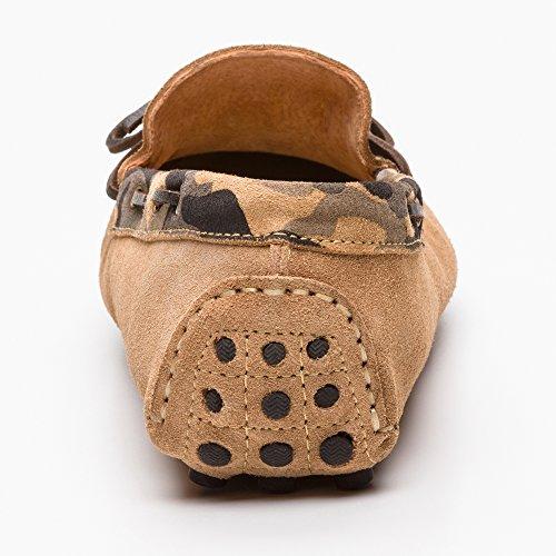 Zerimar Mokassin Tarnung Stil Aktuelles Design Premium Leder Farbe Kaki Schuhe Farbe melitar, Flache Schuhe, Mokassin Damen Schuhe Kaki
