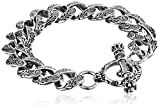 King Baby Men's Small Carved Link Bracelet