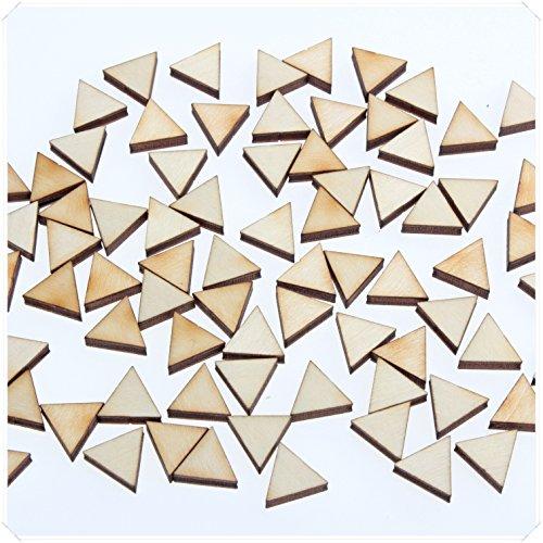 yuhoshop 50 pcs 1.5CM diameter [Triangle Shaped] Mini Small Wooden Piece Embellishments - Scrapbooking Shapes for Craft Decor Button