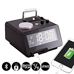 Homtime C12-PRO Iphone Docking Alarm Clock Radio with USB, 5 Modes To Play Music, Bluetooth Hands free Digital Alarm Clock, 4 Level Dimmable, and Personalized Alarm Ring