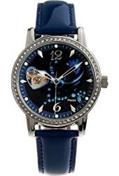 Time100 Constellation-Pisces Luminous Leather Strap Skeleton Mechanical Women's Watch #W80050L.12A
