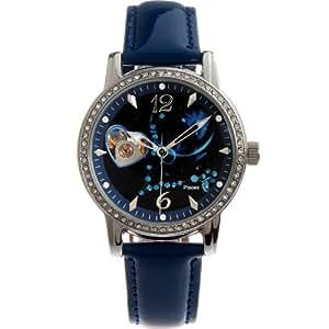 Time W80050L.12A - Reloj para mujeres, correa de cuero color azul oscuro