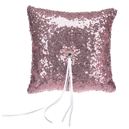 Remedios 5 Colors Fashion Sequin Wedding Ring Bearer Pillow, Blush Pink by Remedios