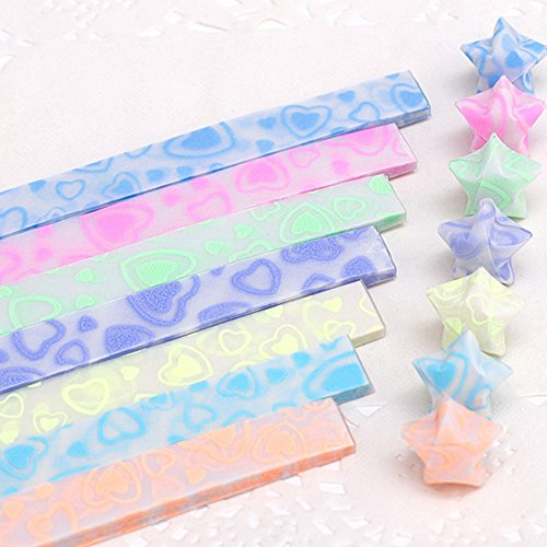 LAYs Luminous Glow in Dark Lucky Star Origami Paper Strips for Friends Lovers Kids Handmade Gifts (300pcs, Heart) - Origami Heart Folding