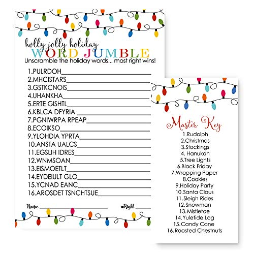 Merry Christmas Party Games Word Scramble Set of