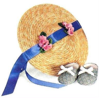 American Girl Straw Hat & Brocade Slippers ~PART OF RETIRED SUMMER GOWN SET~