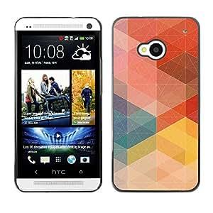 Be Good Phone Accessory // Dura Cáscara cubierta Protectora Caso Carcasa Funda de Protección para HTC One M7 // Pastel Pattern Order Red Tone