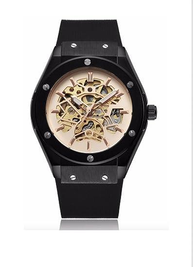 espritshopping® Reloj Automático para Hombre Negra Watch Replica Luxe Mecanique esqueleto acero deporte Skeleton: Amazon.es: Relojes
