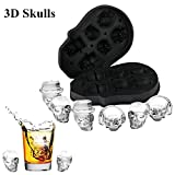 Image of Ice Cube Trays, 3D Skull Flexible Silicone Ice Cube Mold Tray, Six Giant Skulls, Large Round Ice Cube Maker for Whiskey, Cocktail, Beverages and More - Black