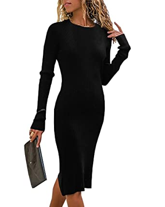 ede015c55354e Bigyonger Womens Bodycon Sweater Dresses Long Sleeve Crew Neck Casual Winter  Knit Midi Dress at Amazon Women's Clothing store: