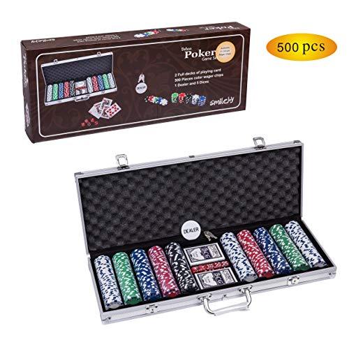 Smilejoy 500PCS Casino Poker Chips Set,11.5 Gram for Texas Holdem Blackjack Gambling with Aluminum Case (Texas Chip Holdem Poker)