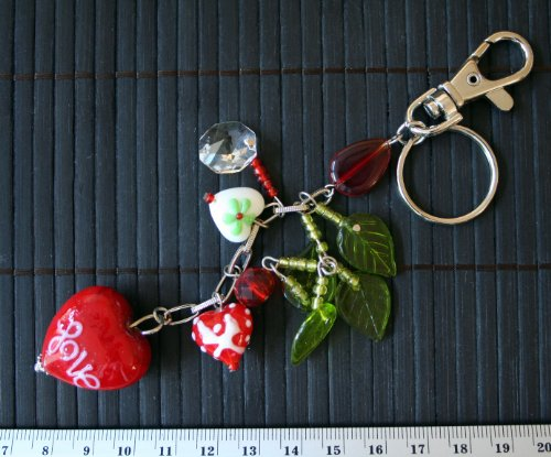 Mother's Day/Valentine Red Heart(White Love) Handmade Lampwork Glass Bag Charm/Keychain/Zipper Pull (White Charms Lampwork)
