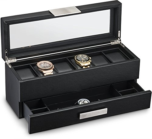 Watch Box with Valet Drawer for Men - 6 Slot Luxury Watch Case Display Organizer, Carbon Fiber Design for Mens Jewelry Watches, The Men's Storage Boxes Holder Boasts a Large Glass Top, Metal Buckle
