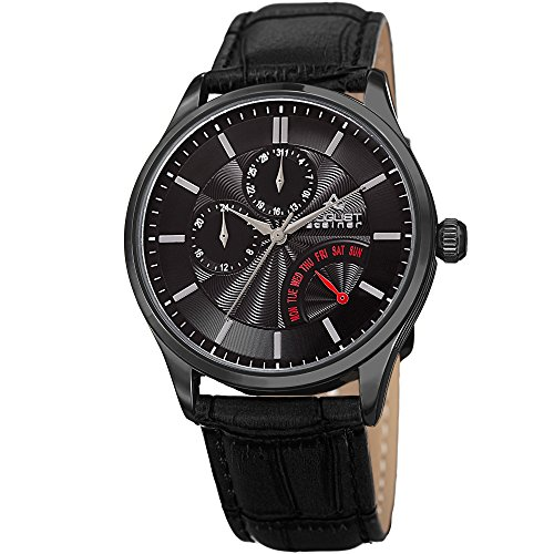 August Steiner Men's 'Polished Finish Alloy Case' Quartz Stainless Steel and Leather Casual Watch, Color:Black (Model: AS8209BK)