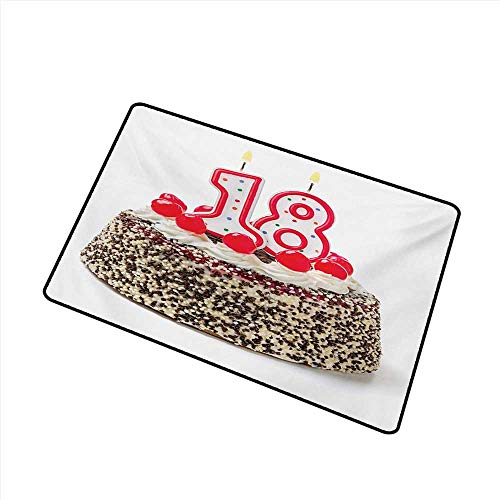 Entrance Door mat 18th Birthday Sweet Eighteen Party Cake with Candles and Cherries Sprinkle Vibrant Photo W35 xL59 Country Home Decor]()