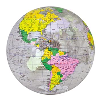 Inflatable Globe World Map.  Amazon com Jet Creations Inflatable Globe Clear 16 Toys Games