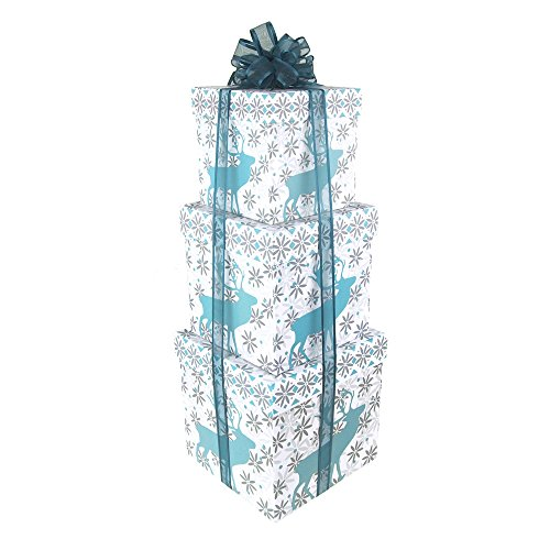 Homeford Holiday Snowflake Country Moose Nested Christmas Gift Boxes, 5, 6 and 7-Inch, 3-Piece