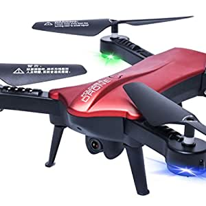 Wifi FPV Drone, COOL99 2.4G 6-Axis RC Quadcopter 2.0MP 120° FOV Real-time View Foldable Red