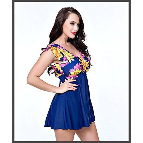 572fddaf6c7aa U.R.dream Women s Plus Size Swimwear Elegant One Piece Swimdress Long Torso  Swimsuits 4XL~8XL