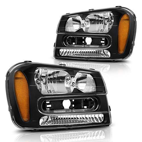 Headlights Assembly for 2002-2009 Chevy Chevrolet Trailblazer W/Full Width Grille Headlamp Replacement Amber Reflector(Except for 2006-2009 LT models, Pair) ()