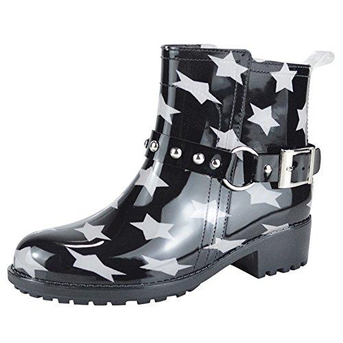 Paragon Womens Classic Chelsea Gloss Garden Festival Waterproof Ankle Wellies Rain Wellington Boot Dark Blue-star
