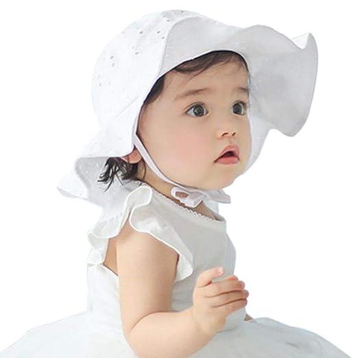 1f7dca96cbe Amazon.com  Baby Girl Toddler Kids Sun Hat Summer Outdoor Sun Protection Hat  1-4 Years (White)  Baby