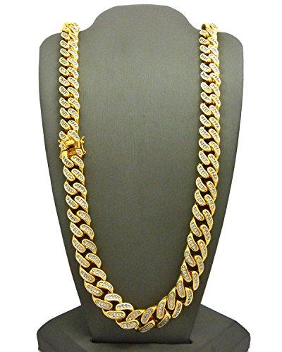 Chaîne Miami Cuban l.12 mm L.76 cm, plaquée or avec Zircons cubiques