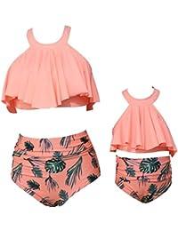 5fc314624ce10 Flounce Top High Waist Two Piece Swimsuit Mother   Baby Girl Swimwear  Family Matching Bikini Set