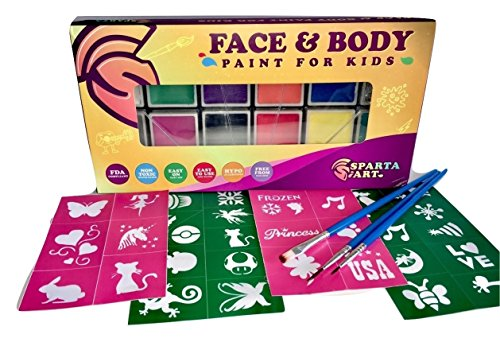 Sparta Art - Face Paint Kit for Kids | Party Pack: Glitter, 20 Stencils and 3 Brushes - Water Based Painting Set | 12 Color Mega Palette Face and Body Paint Kit for Children | Non- Toxic FDA Approved -