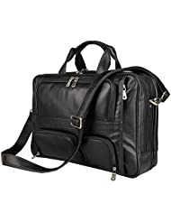 Leather Bag,Berchirly Vintage Expandable Mens Genuine Leather Briefcase Office Business Messenger Bag fits 15.6Inches...