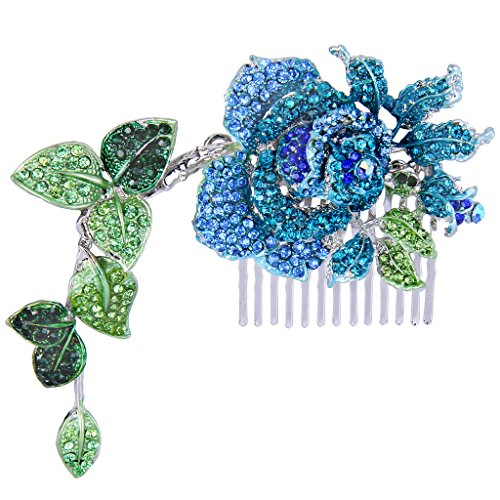(EVER FAITH Silver-Tone Austrian Crystal Enamel Wedding Rose Flower Vine Leaf 5.5 Inch Hair Comb Blue)