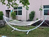 Zupapa® Double Wide Cotton Rope Hammock with Solid Wood Spreader Bars- Weight Capacity 450lbs. 157.5