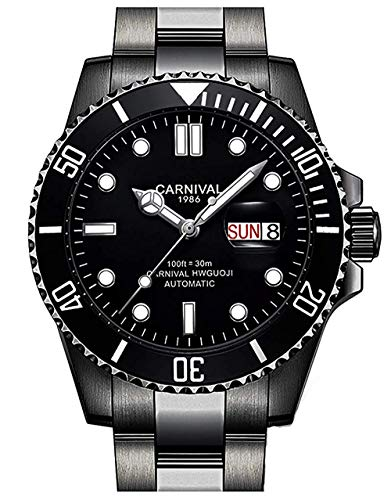 (Mens GMT Black Luminous Dial Rotating Bezel Watch Men's Diver Automatic Mechanical Week Day Wristwatch)