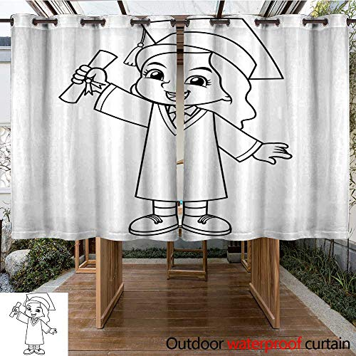 RenteriaDecor Outdoor Ultraviolet Protective Curtains Girl Graduation with Toga and Certificate BW W96 x L72