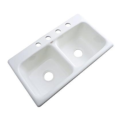 Strange Dekor Sinks 64400 Englewood Cast Acrylic Double Bowl Kitchen Sink 4 Hole 33 White Interior Design Ideas Gentotryabchikinfo