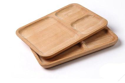 cubiertos de madera, bandeja cuadrada, placa de madera de haya, placas separadas,