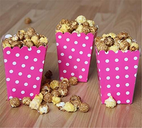 ASMGroup Popcorn Boxes 6pcs/bag Colorful Mini Dot Popcorn Box Party Supplies Gift Box Party Favor Candy For Kid Baby Shower Wedding Party Decoration Rose Red