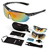 GIORO Polarized Sports Sunglasses with 5 Interchangeable Lenses for Cycling Fishing Driving(Grey)