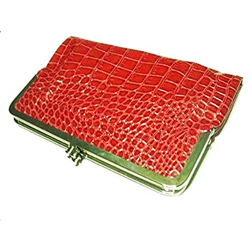 brown large kiss lock double frame wallet glossy crocodile texture brown - Double Frame Clutch Wallet
