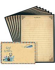Lined Vintage Stationary Paper and Envelopes Set 48 Sheets + 24 Envelopes Old Fashion Stationery Set 7.3 Inch x 10.2 Inch