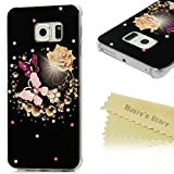 S6 Edge Case (Not for S6,S6 Edge Plus),Galaxy S6 Edge Case - Mavis's Diary 3D Handmade Bling Crystal Lovely Butterfly Fashion Champagne Rose Pattern with Shiny Sparkle Diamonds Hard PC Cover