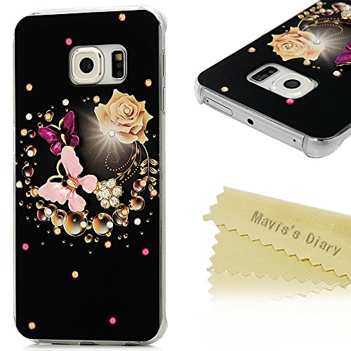 S6 Edge Case (Not for S6,S6 Edge Plus),Galaxy S6 Edge Case – Mavis's Diary 3D Handmade Bling Crystal Lovely Butterfly Fashion Champagne Rose Pattern w…